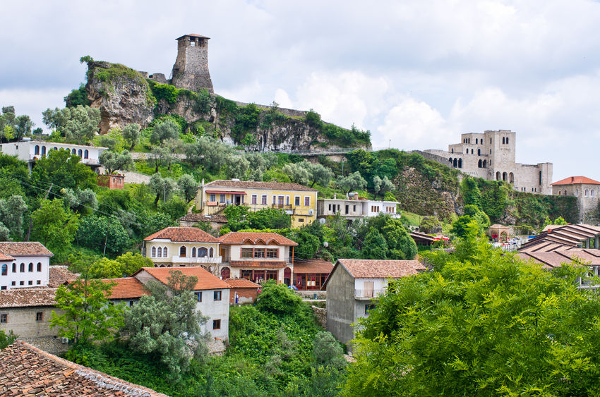 33945832 - scene with kruja castle near tirana in albania